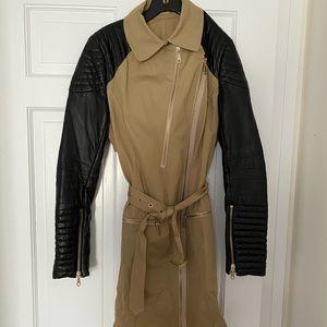 Rebecca Minkoff Kiefer Leather Sleeve Trench Coat